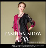 European/American High Quality National Exquisite Printing Elegant Blouse Celebrity PU Hem Womens Fashion plus Size Shirt