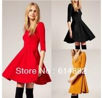 Free Shipping Women's Vintage Dress Long Wool Dress Fashion Elegant Dresses Slim Three Quater Dress