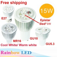 Free Shipping High Power Epistar GU1015W LED Bulb Spotlight Dimmable Lamp AC85-265V 5x3W Downlight, MR16 12V