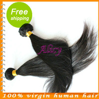 Indian Virgin straight remy human hair extensions Pretty Lady 2 pcs 8 inch to 34 inches natural color  Fast DHL delivery