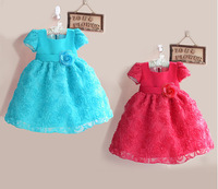 Retail !2013 new sleeveless Waist Chiffon Dress Girls Toddler 3D Flower Tutu Layered Princess Party Bow Kids Formal Dress--1pcs