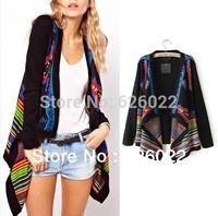 Hot Sale Women's Fashion Color Contrast Irregular Hippie Boho Ethnic Knit Cardigan Sweater Coat Cape Jumper Tops Free Shipping