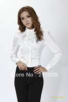 Professional set women's autumn ruffle disassembly stand collar chiffon shirt long-sleeve shirt,R93, DY,G510,8023