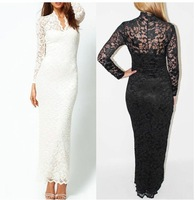 Women long lace white and black new arrival product 2013 Fashion ankle-length formal bridesmaid dresses under $20 sheath