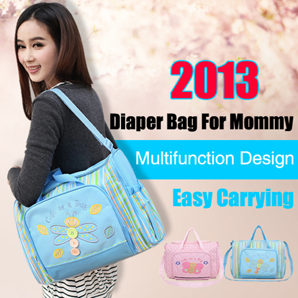 2013 Free Shipping Hot Sale Fashion Nappy Bag Large Capacity Diaer Bag With Diaper Cusion(China (Mainland))