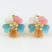 2013 Fashion jewelry,18K Gold plated clip earrings rhinestone flowers, crystal clip on earrings without piercing for women&girl