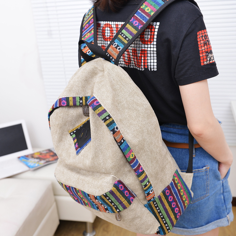 2013 HOT SALE backbag summer denim color block backpack canvas backpack unisex school bag(China (Mainland))