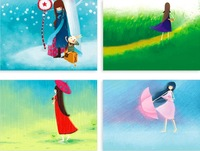 Free shipping/ Wholesale and Retail(12 pcs/set; 4 sets/lot) wholes 48 different pcs/ Small beauty girl hand-painted  postcards