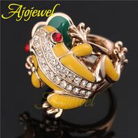 Size 7-9 Lovely Animal Jewelry Fashion 18K Rose Gold Enamel Yellow Frog Rings For Women