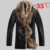 Ship By EMS 4XL Men's Thicken Winter Coat -35 2013 New Men Fur Coat Genuine Feather Jackets Sheepskin Raccoon Jacket Coats S257
