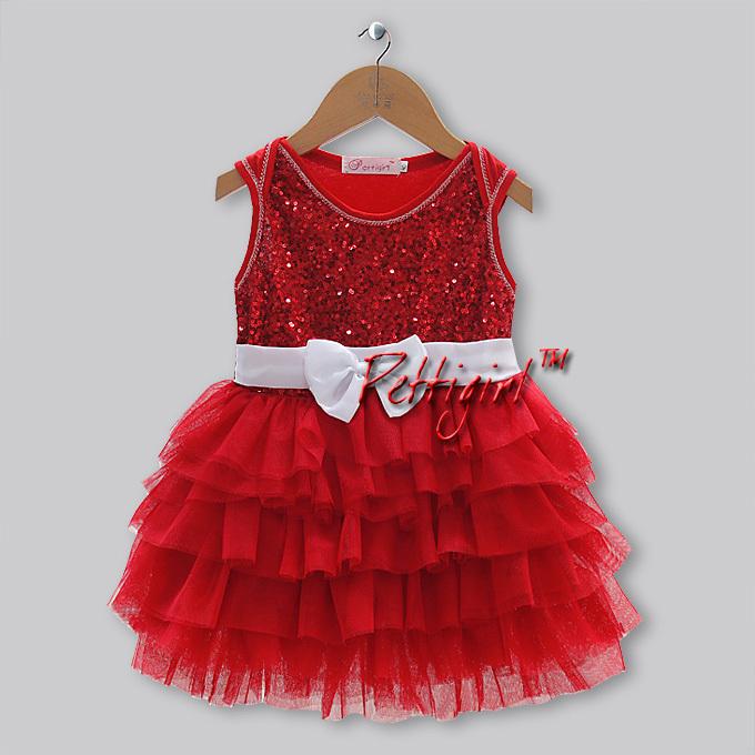 Baby Girl Christmas Red Party Dress Girls Dresses Summer 2013 Girl's Fashion Sleeveless Ball Veil Tutu Dress Wholesale 5pcs/lot(China (Mainland))