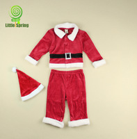 4 sets/lot baby clothing wholesale velvet 0-9 month baby christmas clothing sets  santa suits 3 pieces kids clothing TLZ-T0134