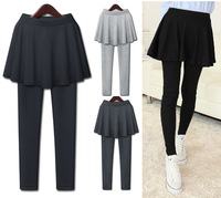 free shipping legging skirt trousers false two piece legging plus size pleated skirt warm pants female cotton skirt leggings