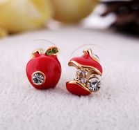 Free shipping 2013 fashion Factory Wholesale Price Red and green crystal Apple Stud Earrings