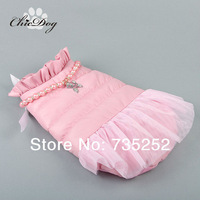 Free shipping cheap dog clothes winter wholesale pet products cute pink dress with lace for puppy clothing chihuahua poodle coat