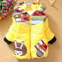 1 Set Retail,2013 new,Children's Coat Cute Girls Warm Coat Winter Children Cotton Jacket thick Cotton-Padded Clothes white cap