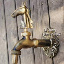 TB9038 Decorative outdoor faucet rural animal shape garden Bibcock with antique bronze horse tap for washing machine(China (Mainland))