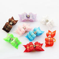 Armi store Handmade Accessories Dogs Multi-Color Style Ribbon Bow 21005 Pet Bow, Puppy Supplies, Free Shipping.