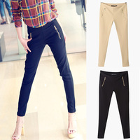 Redefine yourself 2013 European Style Famous Brand Side Zip Up Retro Pencil Dual Zipper Pocket Slim Pants Lady  Drop Shipping