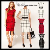 Free Shipping Top Quality. Fashion Graphic Check Dress With Folded Peplum And Belt - Lady's Elegant Plaid Pencil Dress KM-D001
