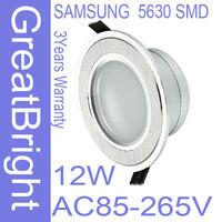 2pcs/lot 12W led recessed downlight lamp dimmable 110V  220V 240V AC85-265V 3years warranty  :TDB12