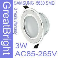 8pcs/lot 3W led recessed downlight lamp dimmable 110V  220V 240V AC85-265V 3years warranty :TDB03