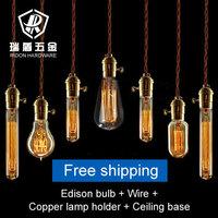 Hot selling antique edison bulb  110V220V e27 screw-mount vintage light with copper holder pendant light free shipping