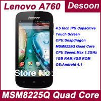 New in Stock! Free shipping Original Lenovo A760 cell phones 1GB+4GB Android 4.1OS MSM8225Q QuadCore 4.5 IPS Screen 3G/ Koccis