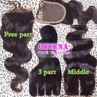 6A 4x4 Brazilian Lace Closure Bleached Knots Virgin Human Hair Closure 3 Part Free Part Body Wave Brazilian Closure Fast Ship