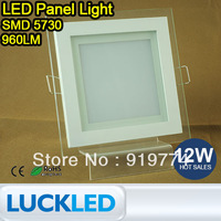 2pcs/lot brightness glass square Ultrathin LED Panel Light for home 12W 5730SMD ceiling light 960lm AC85-265V Warm/cool White