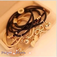 Min order $10 Hot 2014 new fashion 18K Gold Crown Bear Charm bracelets hair rope black beige brown hair accessories for women