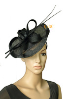 New Arrival sinamay fascinator with long ostrich spine for kentucky derby.can adjust the fascinator shape.3 colors can pick