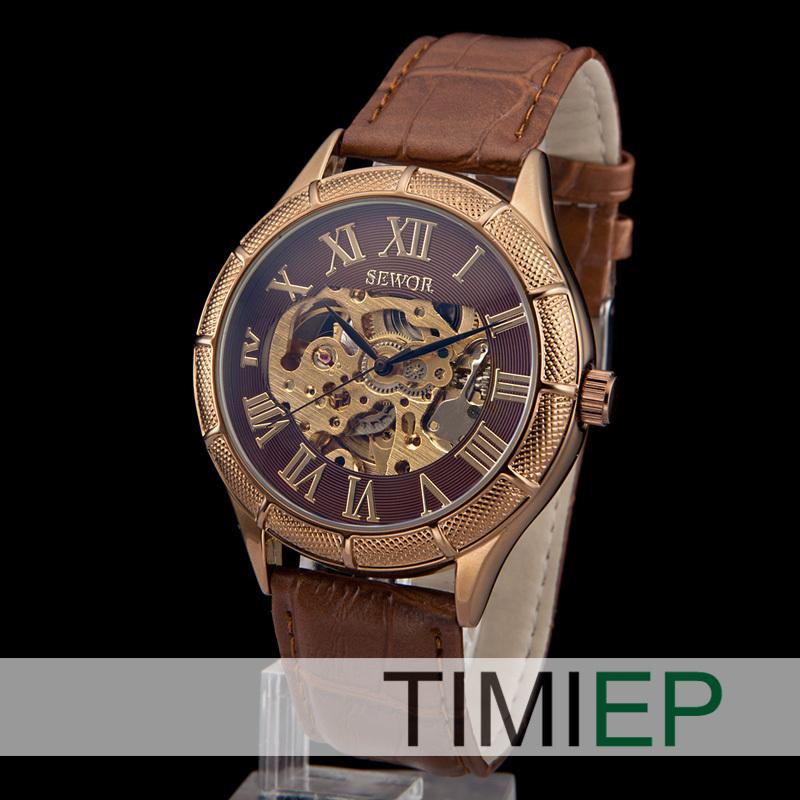 nuevo 2013 transparente esqueleto mecánico de los hombres de la mano del viento reloj de cuero de vestir las mujeres relojes pulsera