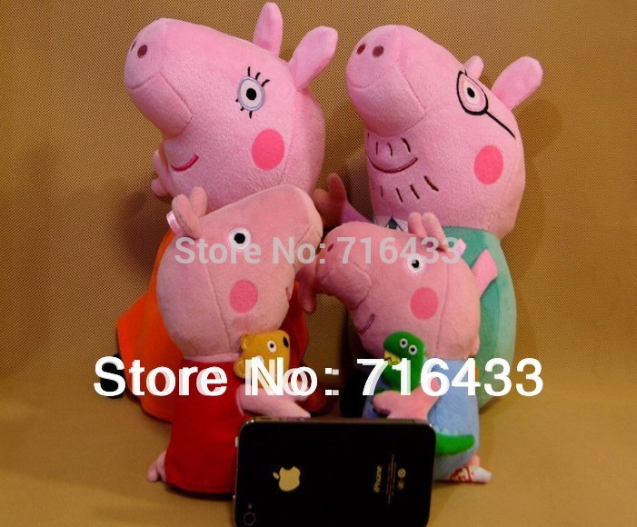 4 pcs peppa pig family peppa pig plush peppa pig toys for children with teddy bear doll anime baby toy dolls for girls wm4671(China (Mainland))