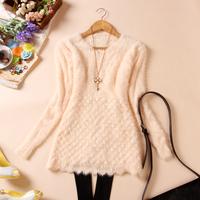 Free shipping  autumn women's mohair sweater pullover basic shirt one-piece women's dress long-sleevescale decorative pattern