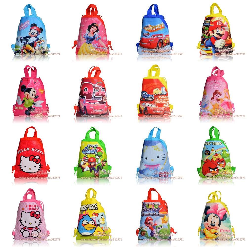 12 stück mickey, prinzessin, kitty, autos, mario bros, Kind die schule kordelzug rucksack taschen, tragetaschen partei zugunsten, Kind alle lieben sie!!!!