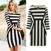 Ladies Celeb Elegant Monochrome Black White Striped Mini Optical Illusion Party Bodycon Dress Stock ready Free Drop Shipping