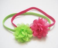 2013 fashion flower headband elastic headband  baby headbands with  Chiffon flower decoration 36pcs/lot 12colors available