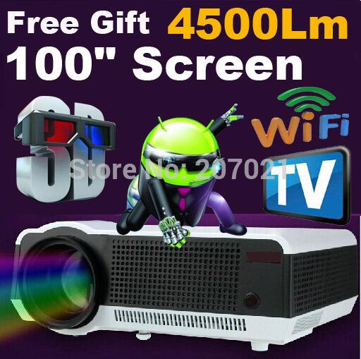 Versandkostenfrei Android 4.2 wifi rj45 lan 4500 lumen Nacht projektoren hause hd 1080p lcd tv video led-projektor 1280*800 overheadprojektor