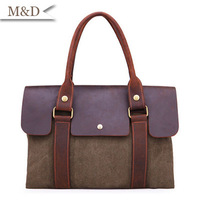 New Fashion England Style Canvas Genuine Leather Handbag  Convenient Travelling Bag Leisure and Domineering