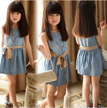 Free shipping new 2014 autumn-summer girls casual princess dress kids cotton thin denim sleeveless dress