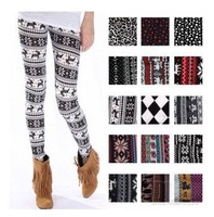 [77 Fashion ]Q86 legging autumn and winter warm pants onta doodle legging autumn and winter christmas deer legging 153