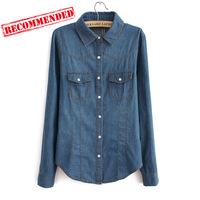 women super fashion slim fit denim shirts lady casual turn sown collar long sleeves jeans blouse good quality 217131