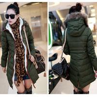 Winter lady big fur Hoody Coat army green faux wool jacket,fashion winter down coats women,lady outerwear L,XL,XXL Free Shipping