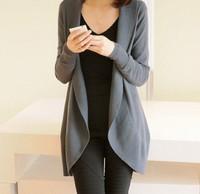 Women 2014 fashion Knit Top Sweaters loose batwing sleeve medium-long sweater vintage cardigan outerwear Free Shipping