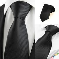 Free Shipping Men's Fashion Casual Tie Black 8.5cm Marriage Tie 100% Microfiber
