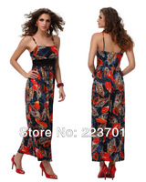 2013 summer new arrive fashion party dress  for women high waisted Sashes ladies maxi peacock  dress