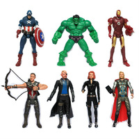 "The Avengers 5"" Captain America Wolverine Thor Spiderman Batman 14cm Action Figures Toy 7 pcs/set free shipping"