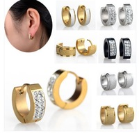 Mix style Punk Mens Women  Crystal Stainless Steel Earring Stud Earrings Gauges NEW[JE01008-10(10)]