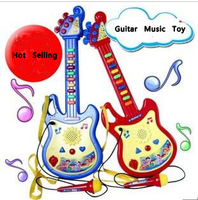 Retail Battery Operated Unisex Children's Multifunctional  Orgatron Music Boys Girls  Educational Toys Guitar with a microphone